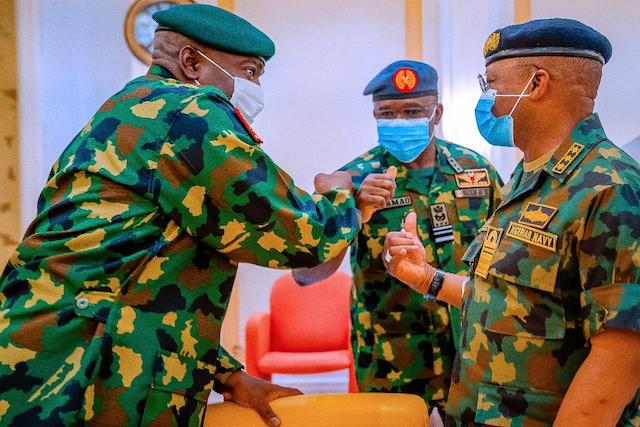 The Service chiefs at the meeting with Buhari