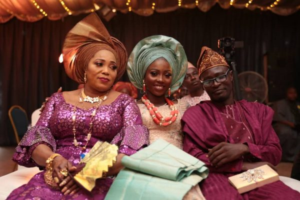 The Bride, Feyi Sogbesan with her parents.