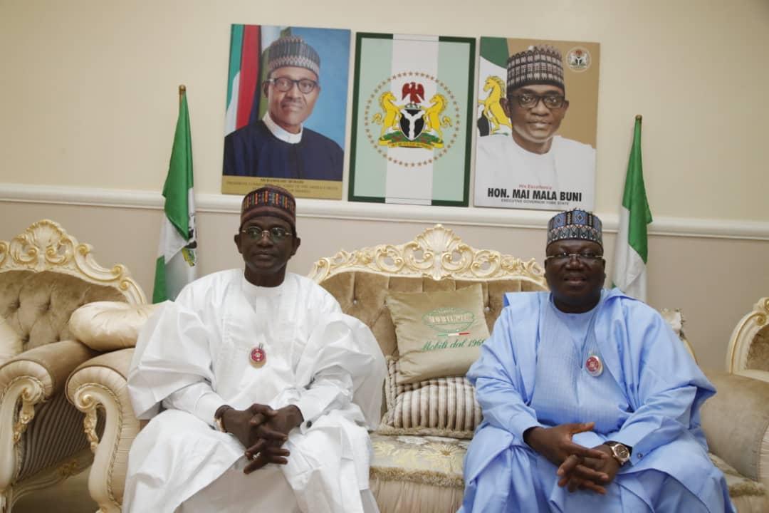 Yobe State Governor, Mai Mala Buni and Senate President, Ahmad Lawan.