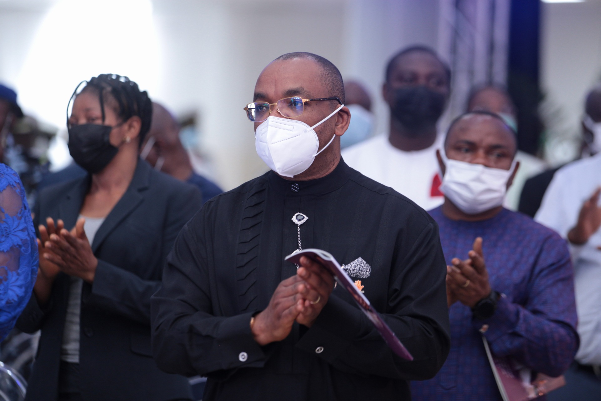 Akwa Ibom State Governor Udom Emmanuel at the Farewell Service of Pastor Dare Adeboye, at the Youth Centre, Redemption Camp