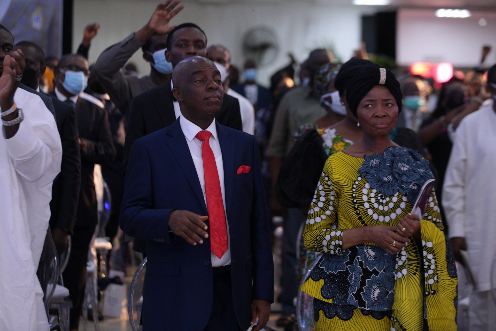 Presiding Bishop of the Living Faith Church Worldwide aka Winners' Chapel, David Oyedepo; his wife, Faith at the Farewell Service of Pastor Dare Adeboye, son of General Overseer of the Redeemed Christian Church of God, Pastor Enoch Adeboye at the Youth Centre, Redemption Camp