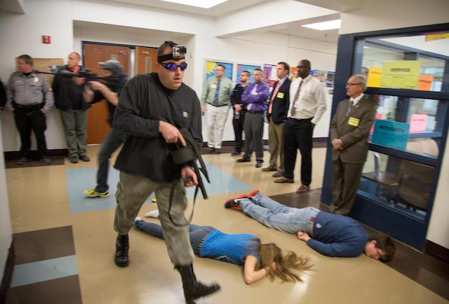 Active shooter drill in a school in America