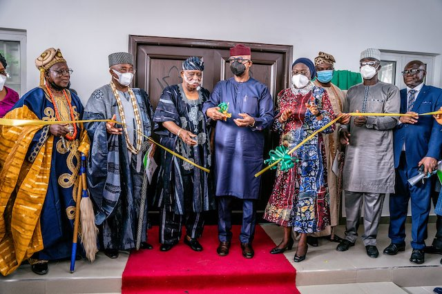 Gov. Abiodun, Chief Osoba at the commissioning of the Olusegun Osoba Press Centre in Abeokuta