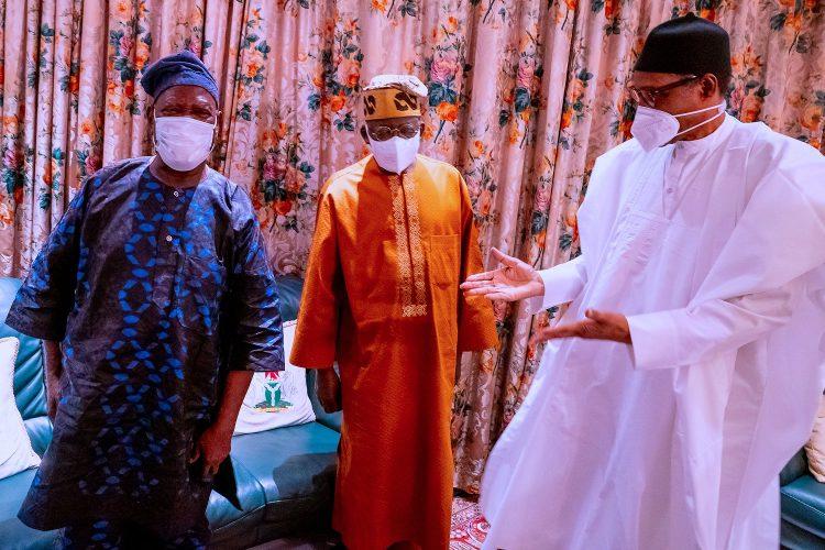 Tinubu, Akande, Osoba hit Aso Rock for Buhari