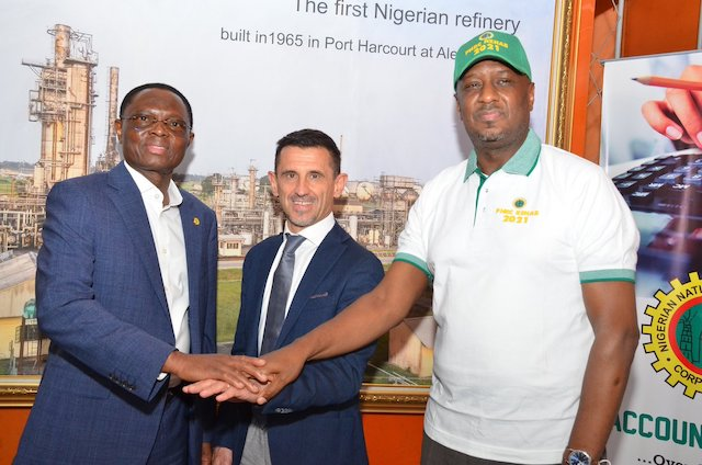 L-R: Chief Operating Officer, Refineries, Engr Mustapha Yakubu; Vice President (Revamping), Mr Davide Broggini and the MD PHRC, Engr Ahmed Dikko at the meeting in Port Harcourt