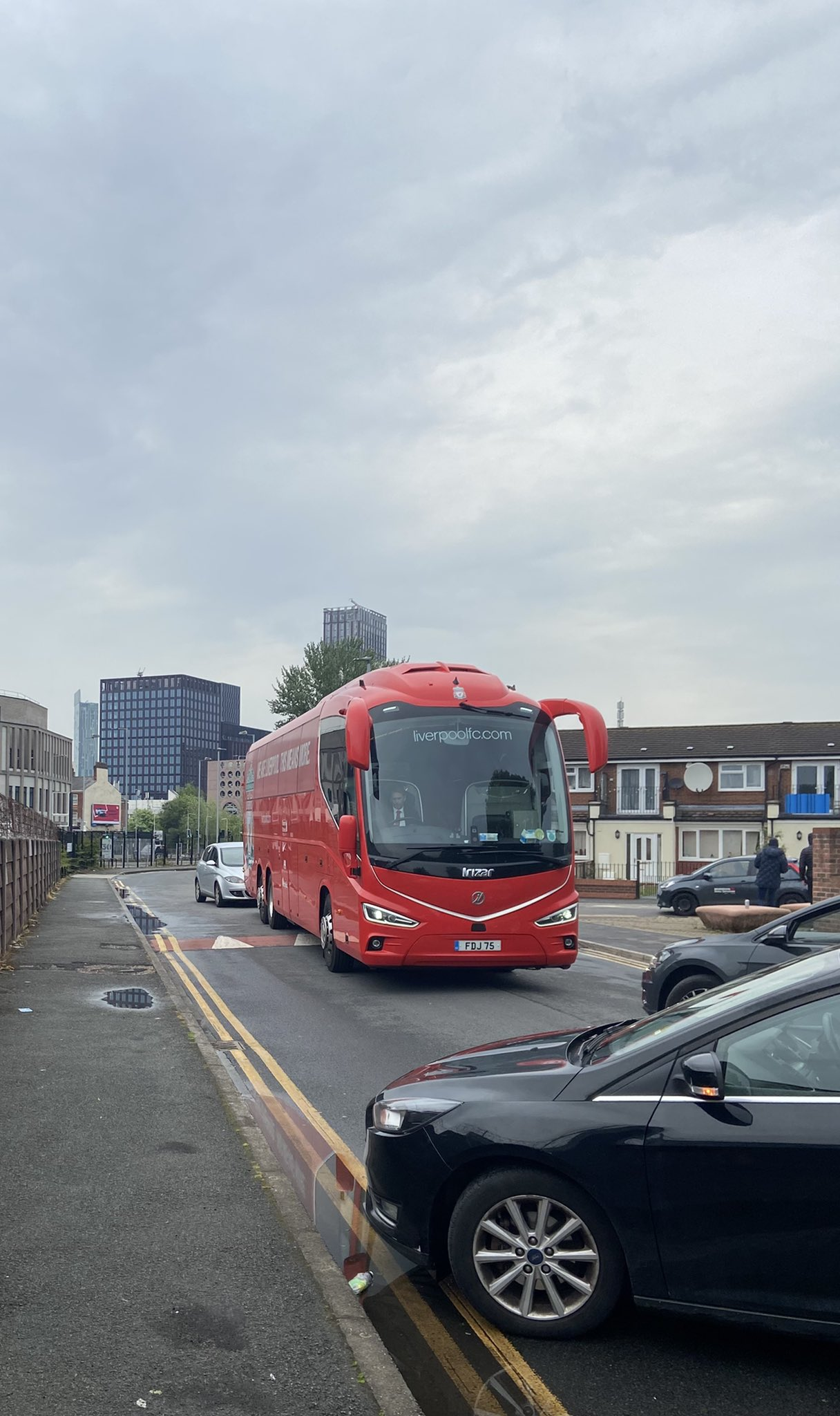 Liverpool team bus blocked by United fans on Thursday