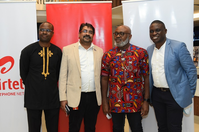 L-R: Tokunbo Adodo, Vice President, Corporate Brands and Marketing; Dinesh Balsingh, Chief Commercial Officer (CCO); Emeka Oparah, Vice President, Corporate Communications & Corporate Social Responsibility and Seun Soladoye, Marketing Director, all of Airtel Nigeria at the media unveiling of Airtel New TV Commercial: 'The Rainmaker' in Lagos recently.