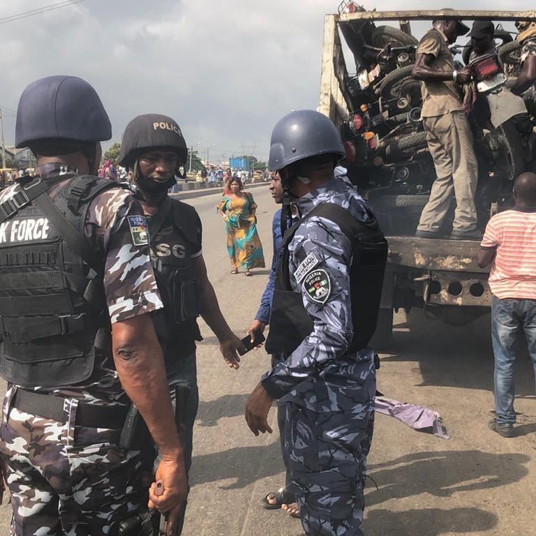 Taskforce officers impound okadas at Cele Bus Stop