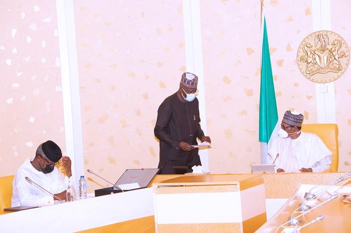 R-L; President Muhammadu Buhari,  SGF Mr. Boss Mustapha and Vice President Yemi Osinbajo SAN during a virtual FEC Meeting held at the State House Abuja. PHOTO; SUNDAY AGHAEZE. MAY 5TH 2021