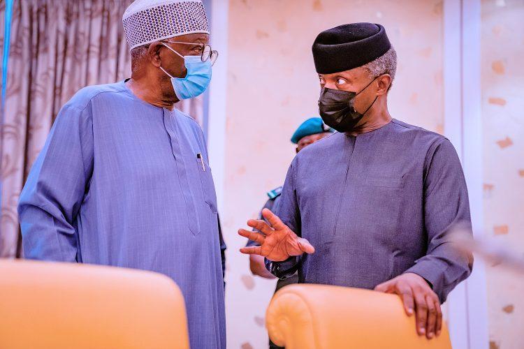 Prof. Osinbajo and with Prof. Ibrahim Gambari at the meeting