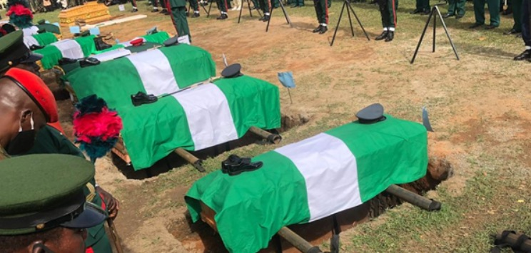 The caskets for the late Chief of Staff Lt.General Ibrahim Attahiru and 10 others