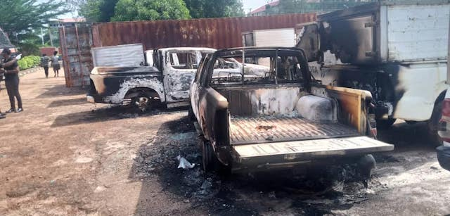 Vehicles set ablaze at INEC office Awka