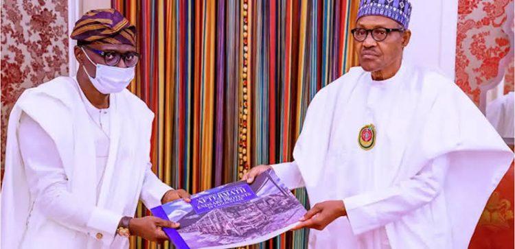 Sanwo-Olu when he presented #EndSARS destruction of Lagos album to Buhari in Abuja last year