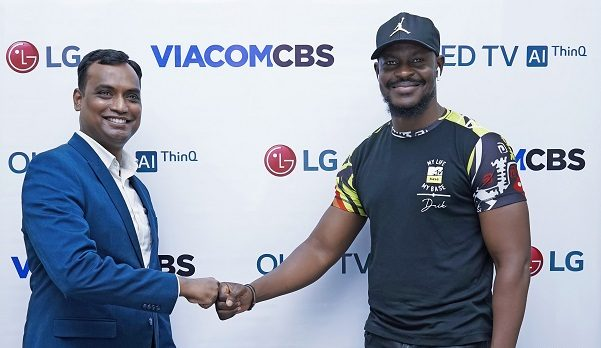 Head Corporate Marketing LG Electronics West Africa Operations, Hari Elluru; and Country Manager, ViacomCBS Networks Africa, Bada Akintunde-Johnson; at the official announcement of LG OLED and ViacomCBS Networks Africa advertising and sponsorship deal in Lagos.