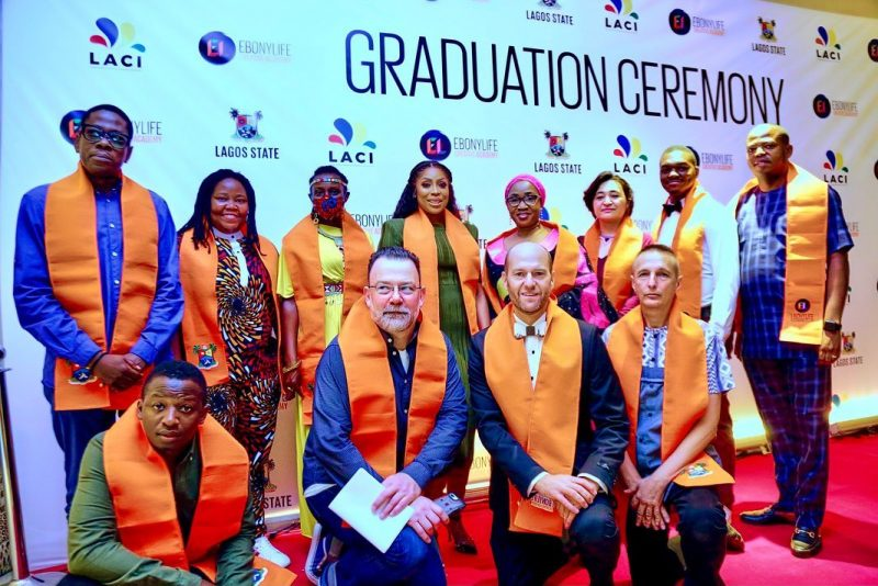 Mo Abudu, centre back row, with Mrs Adenike Adedoyin-Ajayi, permsec Ministry of Tourism and other instructors