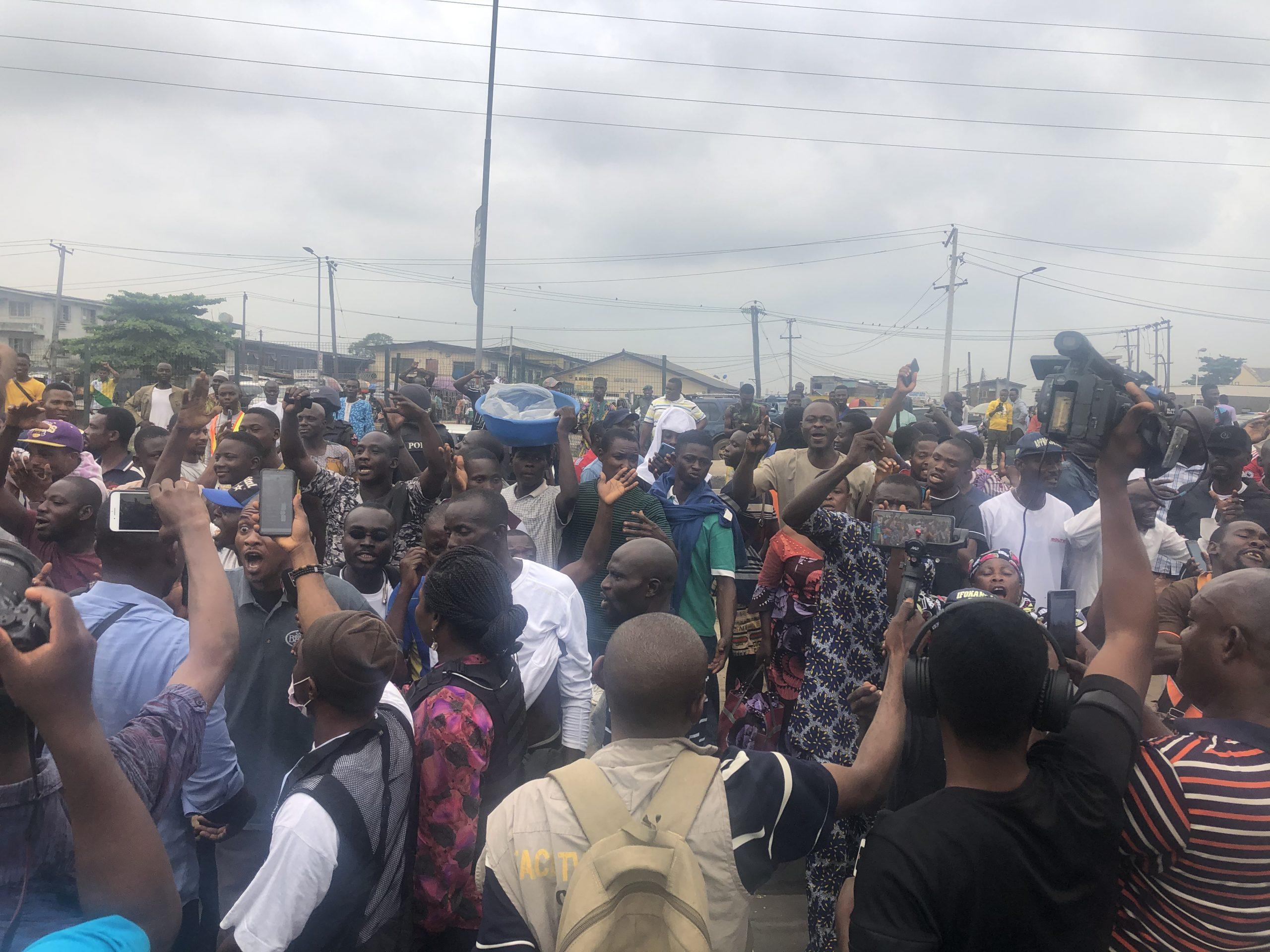 Yoruba nation protesters at Gani Fawehinmi Park, Ojota