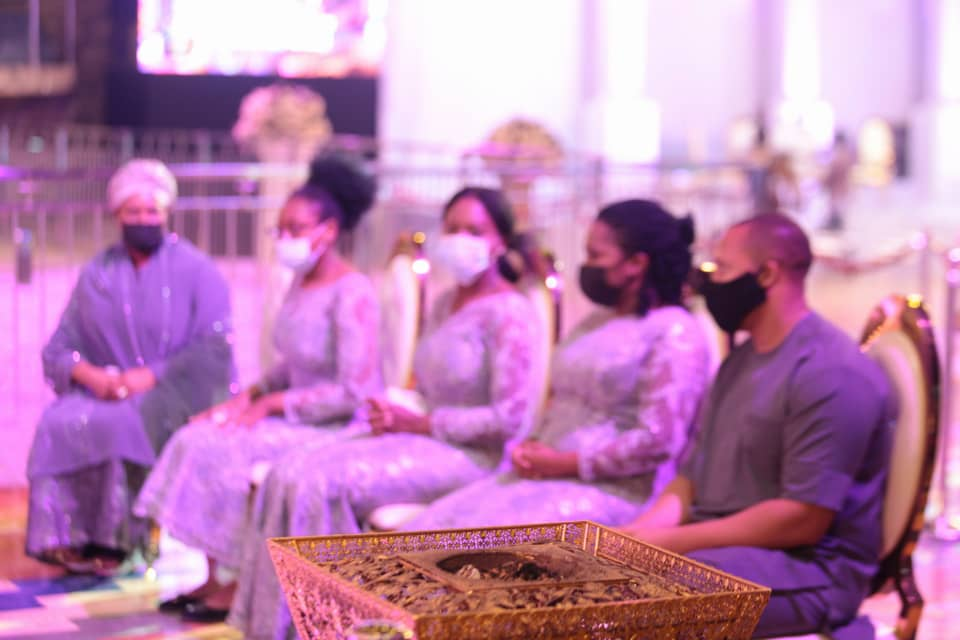 TB Joshua's wife, Evelyn, son in law and his daughter at the lying-in-state service. Photo by Ayodele Efunla