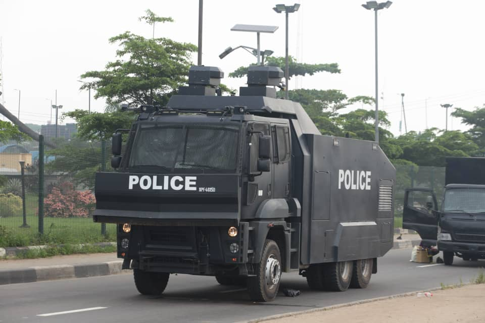 An Armoured tank stationed at Ojota, planned location for Yoruba Nation rally