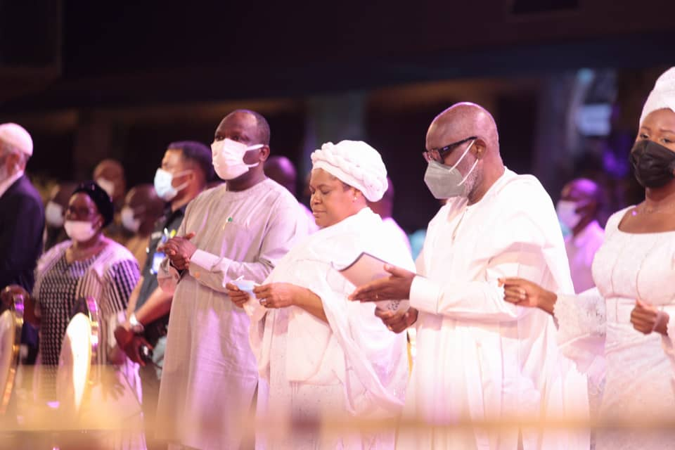 From right: Ondo State Governor, Mr Rotimi Akeredolu, Evelyn Joshua, the wife of late TB Joshua and Hon. Anafi Elegushi, Commissioner for Home Affairs, Lagos State at the Laying-to-rest service in honour of TB Joshua at the church. Photo by Ayodele Efunla