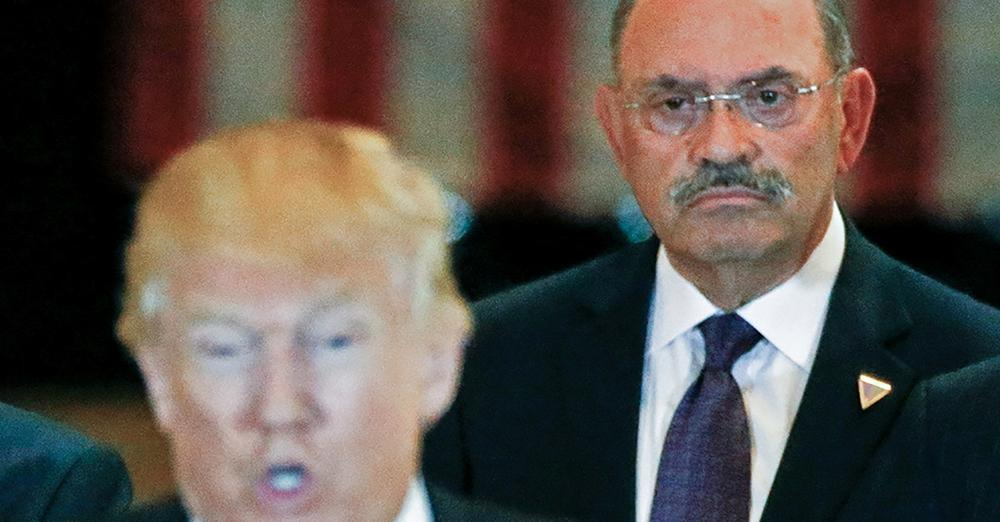 Allen Weisselberg, right, CFO of Trump Organisation charged with tax fraud, along with the company