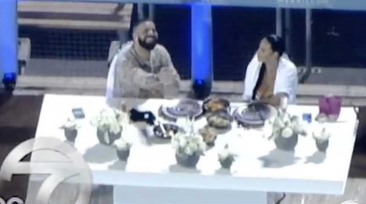 Drake on Thursday night with Johanna Leia at an empty Dodgers Stadium in Los Angeles. Photo ABC 7