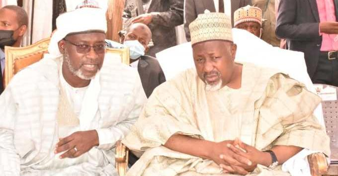 Minister of water resources Suleiman Adamu and Governor Badaru Abubakar at the handing over of Kazaure water plant