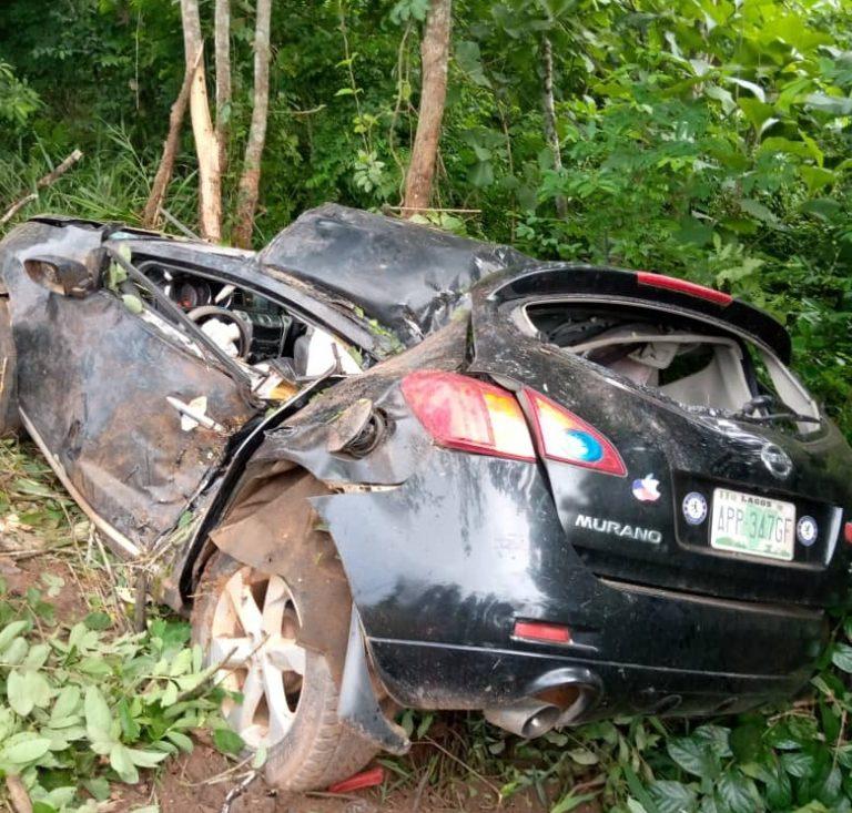 The crashed vehicle involving the Iperu General Hospital matron and her husband