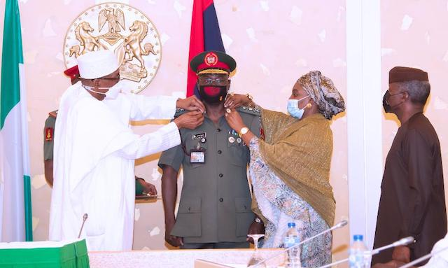 Yahaya gets his epaulets from Buhari and Salamatu