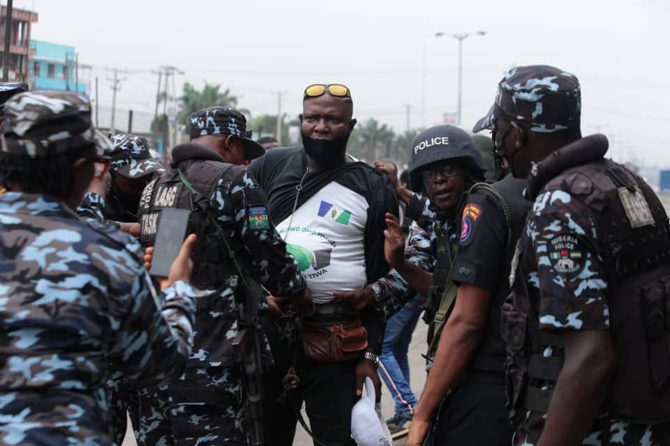 Yoruba Nation protester being arrested at Ojota