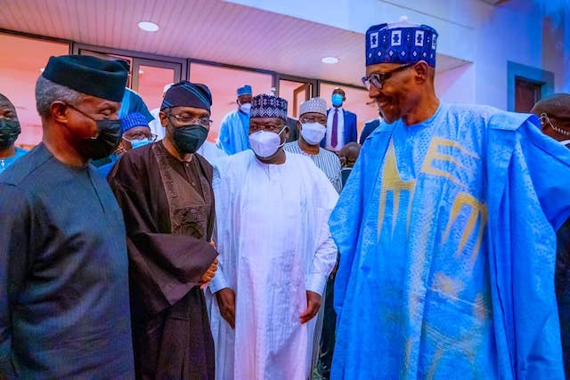 Buhari banters with Osinbajo, Gbajabiamila, Lawan