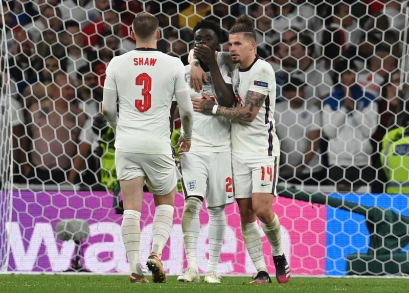 Bukayo Saka in tears after missing spot kick for England