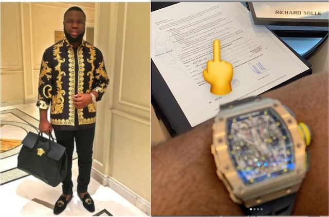 Hushpuppi with the Richard Mille watch bought in December 2019, after hitting Qatari man