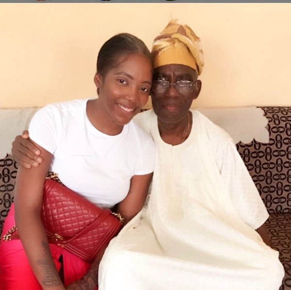Tiwa Savage with her dad as posted on Instagram