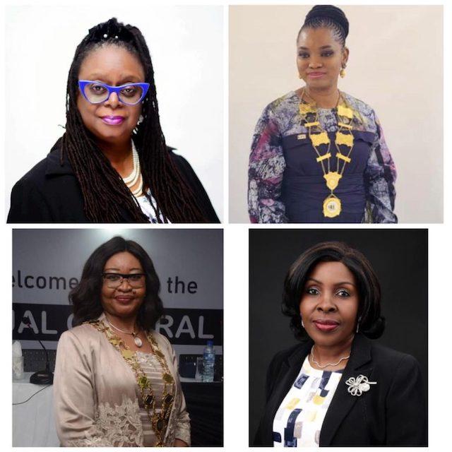 Some Nigerian Women in top posts: Top L-R- Mrs Toki Mabogunje, President LCCI, Mrs Bisi Adeyemi, President, NBCC Bottom L-R Dr Ije Jidenma, President,IoD, and Dr Chinyere Almona, Director-General, LCCI