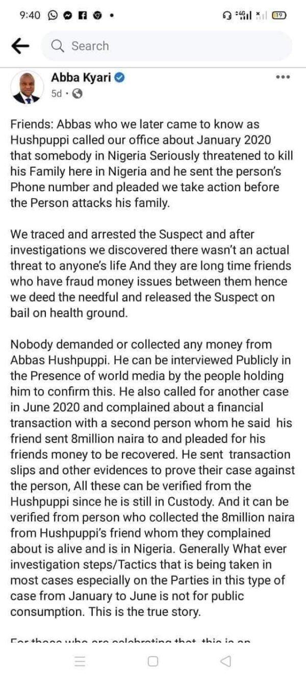 Abba Kyari facebook post