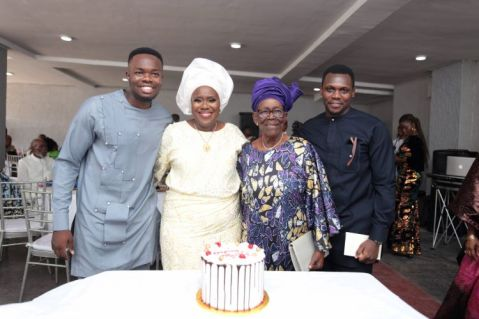 Olugbenga Jacobs(celebrant's son), Mrs Joke Silva, Chief Mrs Kofo Olawoye and Mr Soji Jacobs(celebrant' son)