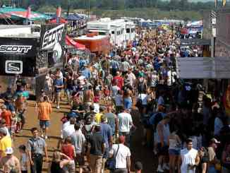 A Crowded Vendor Row at RedBud – Credit Carl Stone