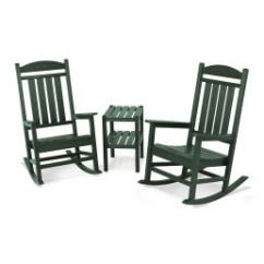 Hard Plastic Outdoor Rocking Chairs Wooden Kitchen With Arms Polywood Furniture Rethink Official Store Presidential 3 Piece Chair Set
