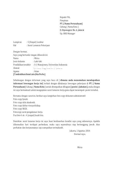 Surat Lamaran Kerja Simple : surat, lamaran, kerja, simple, Contoh, Surat, Lamaran, Kerja, Benar,, Lolos