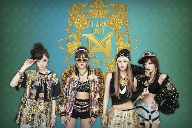 T-ara, four young women in wacky outfits.  One has cool Elton-John glasses.