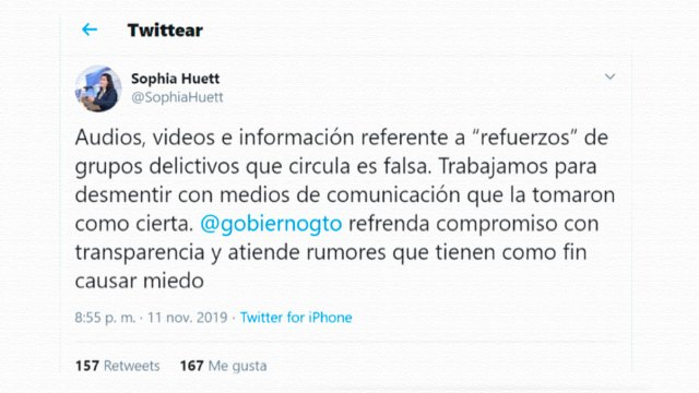 Mensaje de Twitter de Sophia Huett, comisionada de la Unidad de Análisis y Estrategia para la Seguridad Ciudadana del estado de Guanajuato, tratando de frenar la difusión del video y audios en los que se anunciaba la llegada de sicarios del Cártel de Sinaloa al estado de Guanajuato.