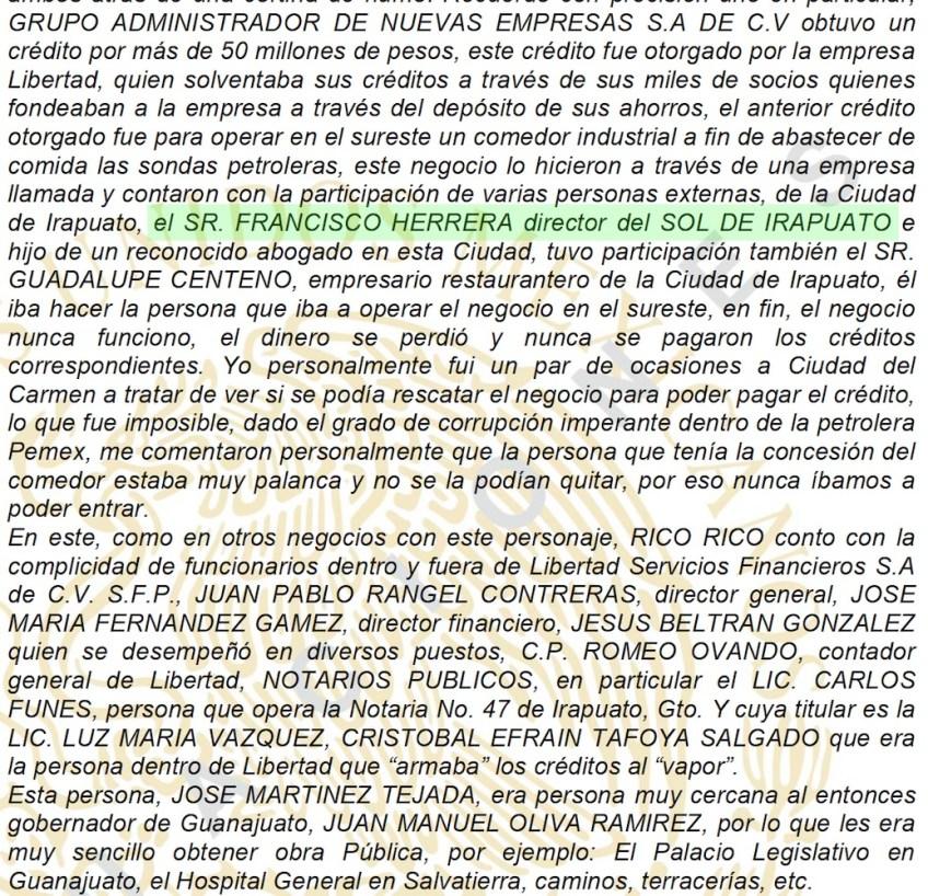 Frangmento de la demanda donde se menciona a Alejandro Herrera (erróneamente, como Francisco)
