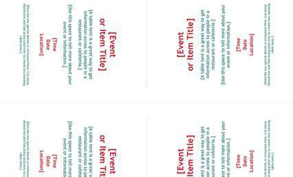 Table Tent Card Menu Templates Musthavemenus 72 Found