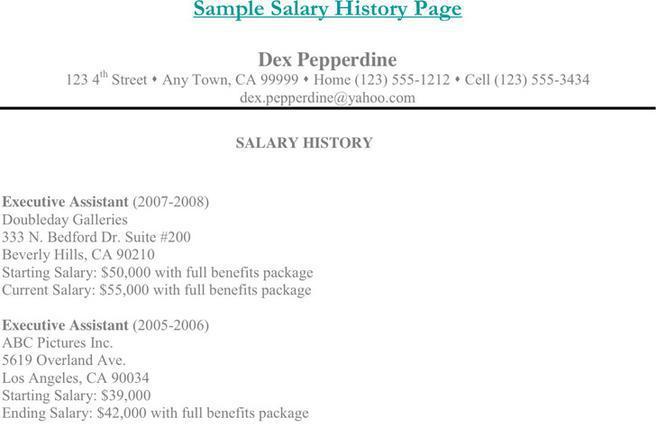 Resume with salary history example salary history template salary history template salary history pronofoot35fo Gallery