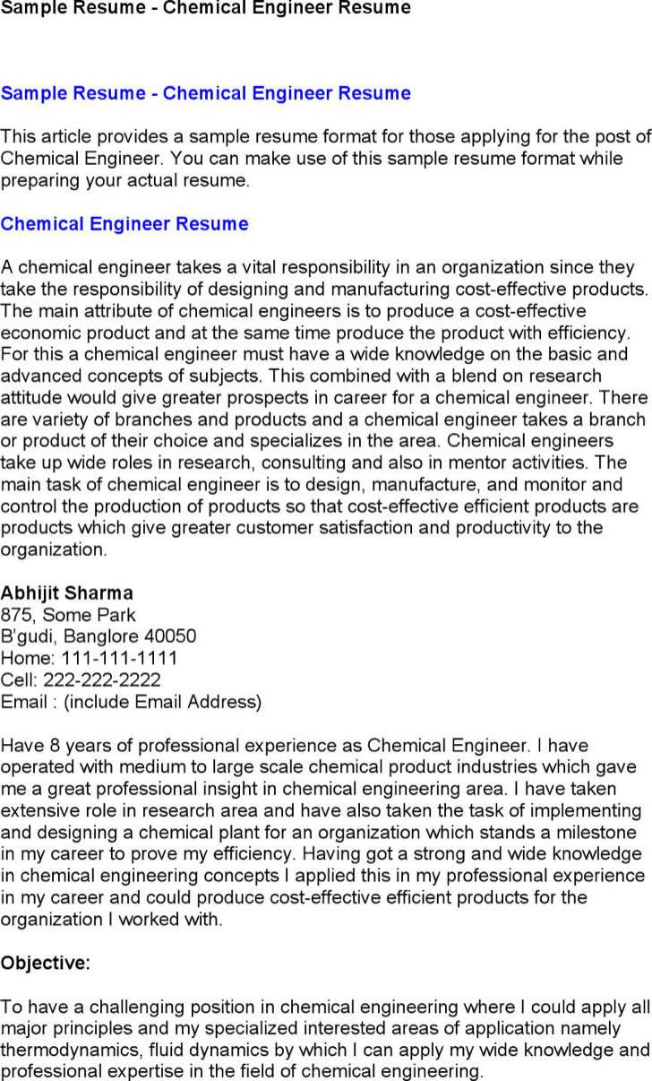 Chemical Engineer Resume 6 Chemical Engineer Resume Templates Free Download