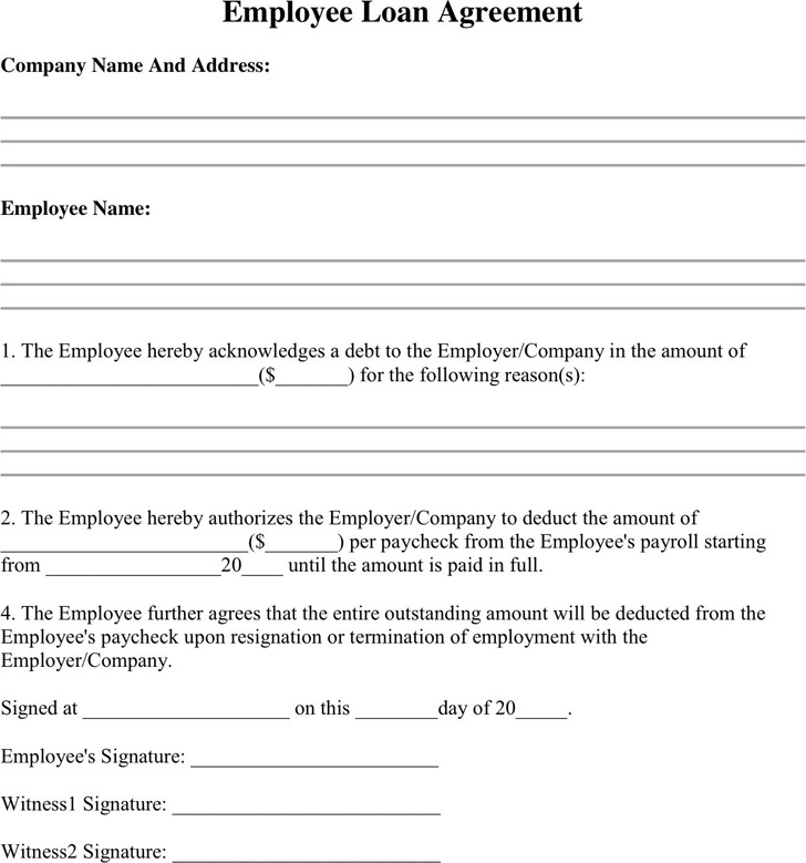 Loan Agreement Format Employee Create Professional Resumes