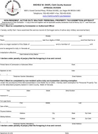 Nevada Affidavit Form