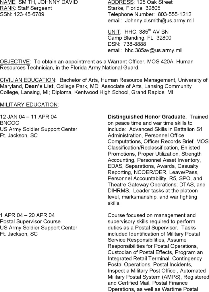 Military Resume Examples Example Of Military Resume Military To