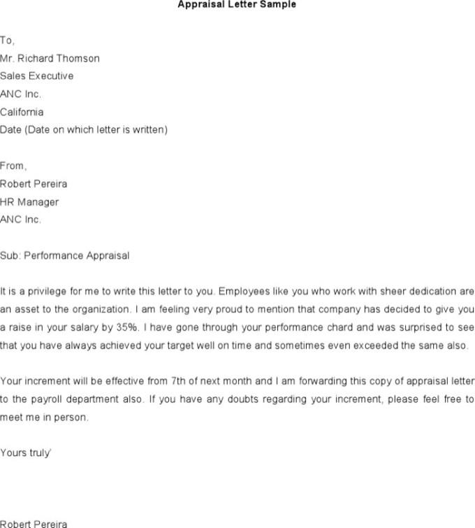Employee Appraisal Letter Examples | Textpoems.org
