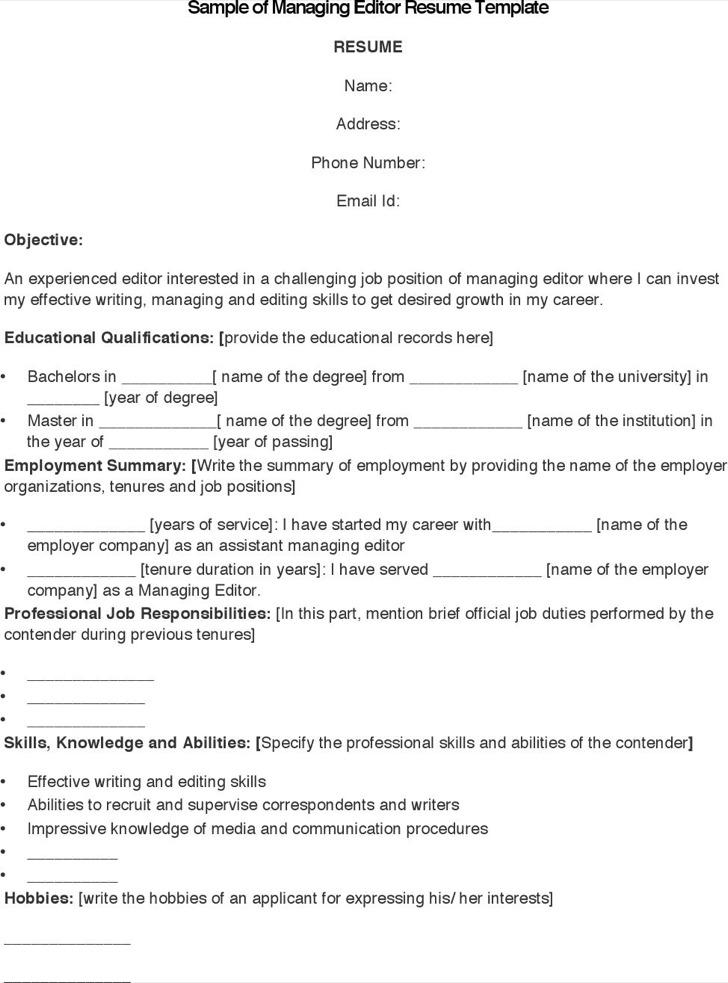 Managing Editor Resume] Managing Editor Free Resume Samples